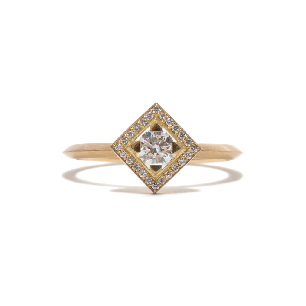 Square Element Halo Engagement Ring