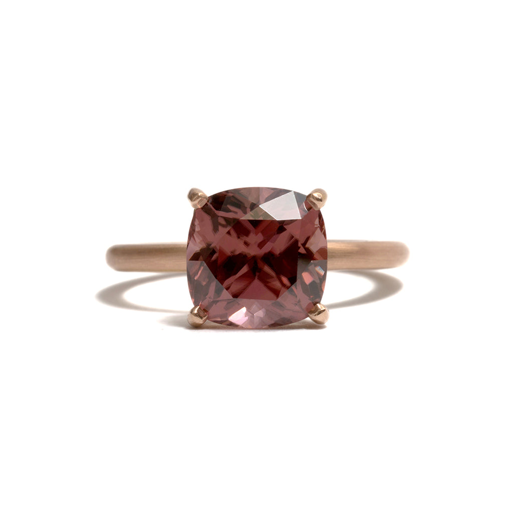 Cognac Zircon Four Claw Ring