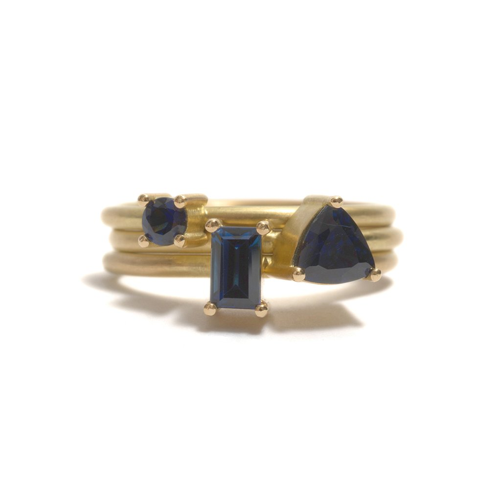 Yellow Gold Lava Plains Sapphire Element Stacking Ring