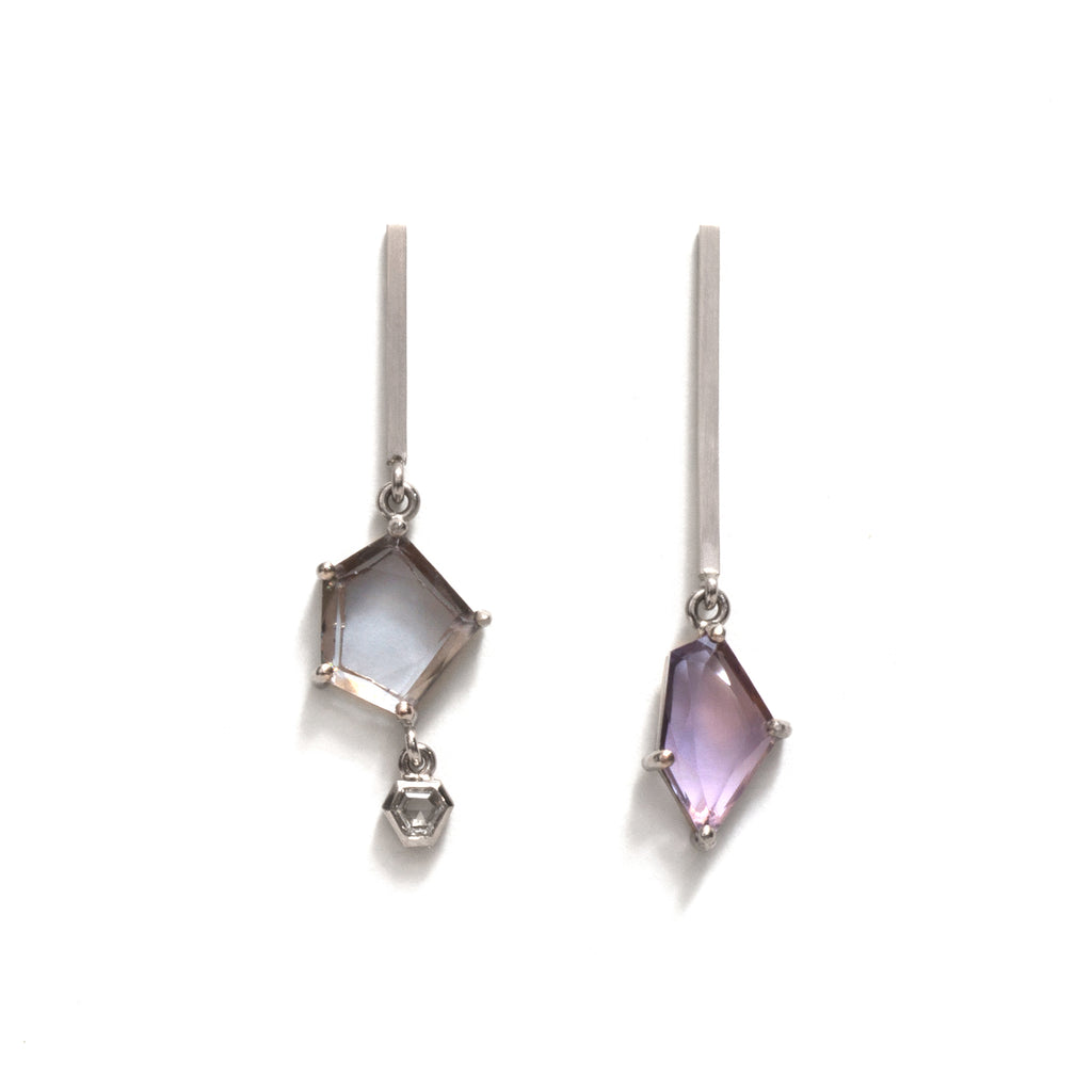 Medium Lilac Sapphire Slice and Rose Cut Diamond Earrings