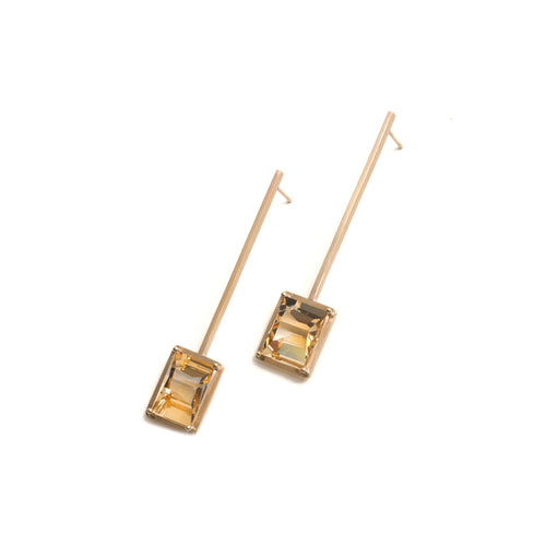 Golden Suspended Frame Citrine Earrings
