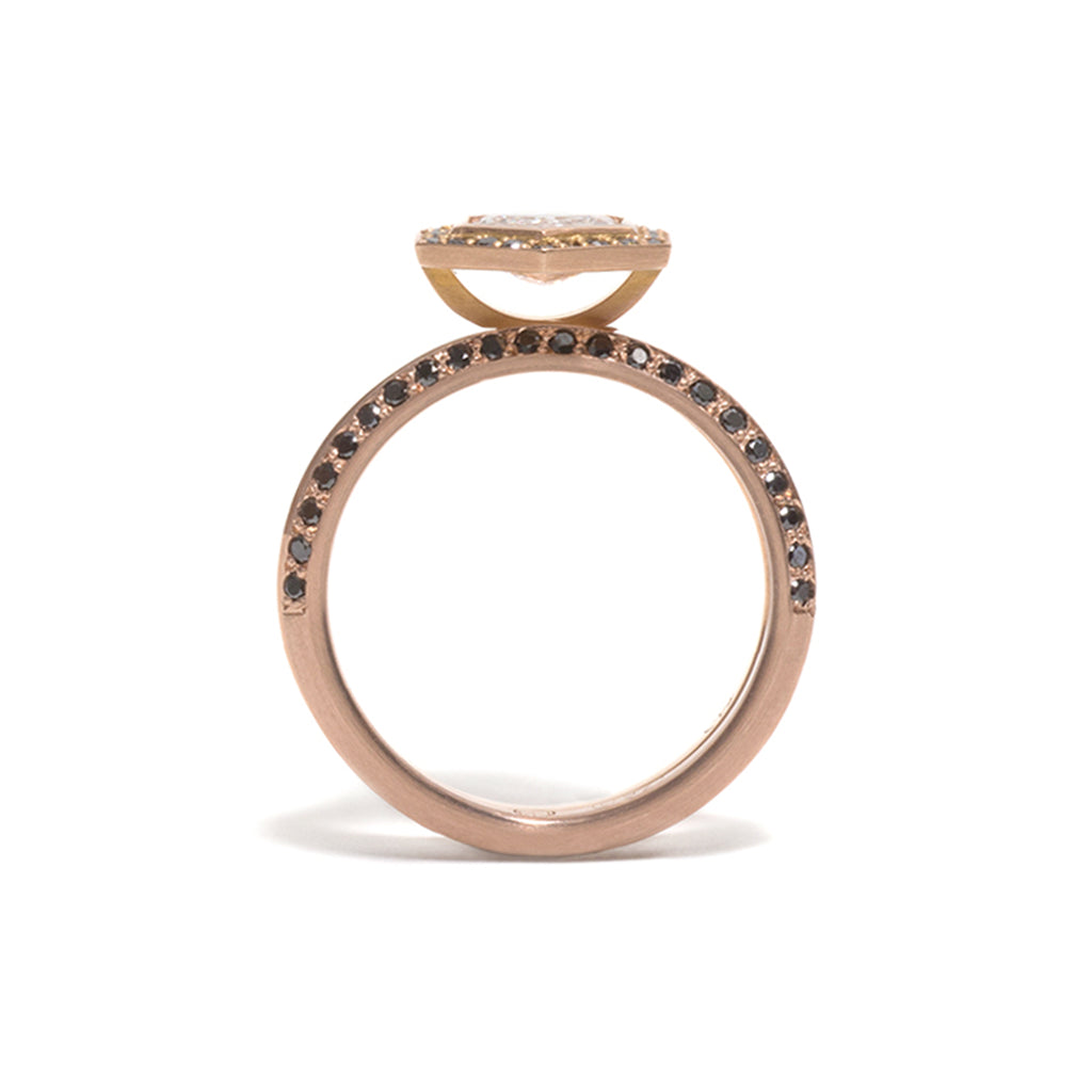 Double Jewelled Rose Gold You and Me Ring
