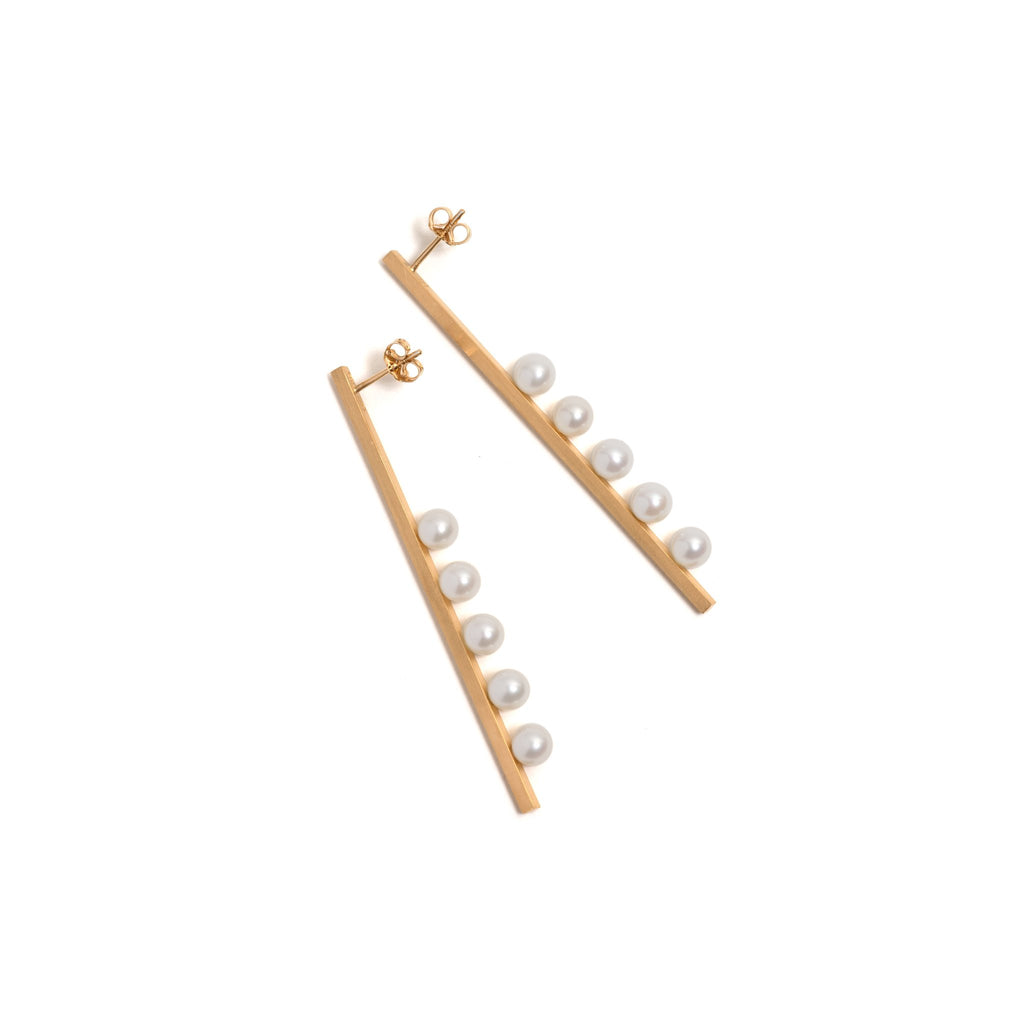 Golden Vertical Suspended Five Pearl Earrings