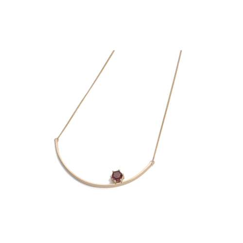 Hexagonal Step Cut Garnet Large Curve Necklace