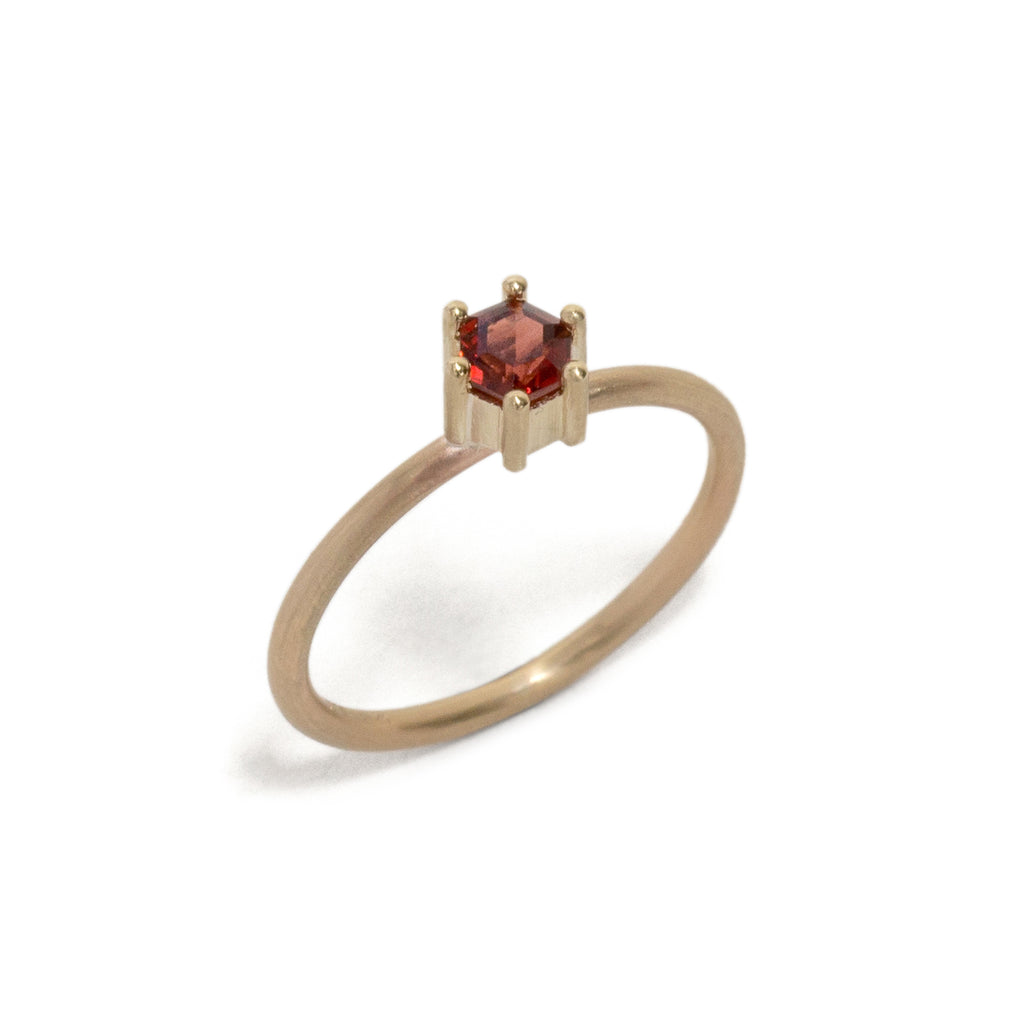 Hexagonal Step Cut Small Garnet Stacking Ring