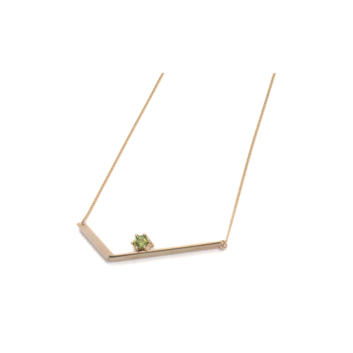 Hexagonal Step Cut Peridot Small Angle Necklace