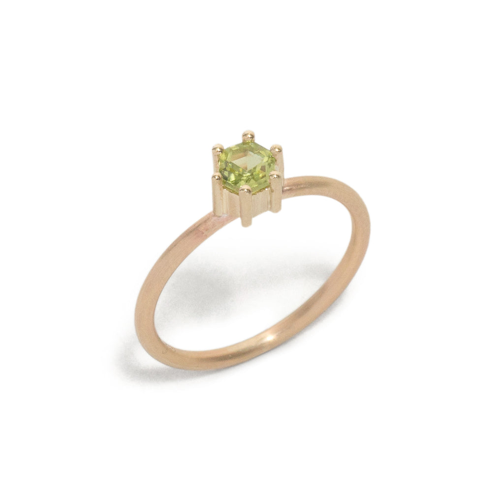 Hexagonal Step Cut Small Peridot Stacking Ring