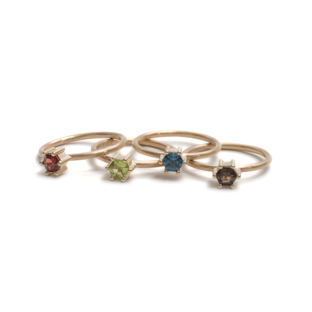 Hexagonal Step Cut Small London Blue Topaz Stacking Ring