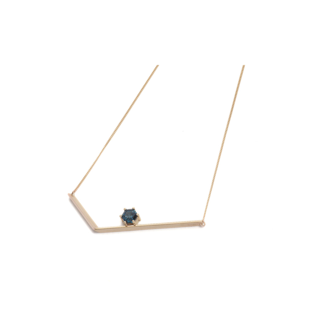 Hexagonal Step Cut London Blue Topaz Large Angle Necklace