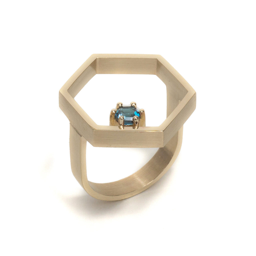 Hexagonal Step Cut London Blue Topaz Open Hex Ring