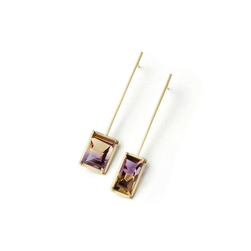 Golden Suspended Frame Ametrine Earrings