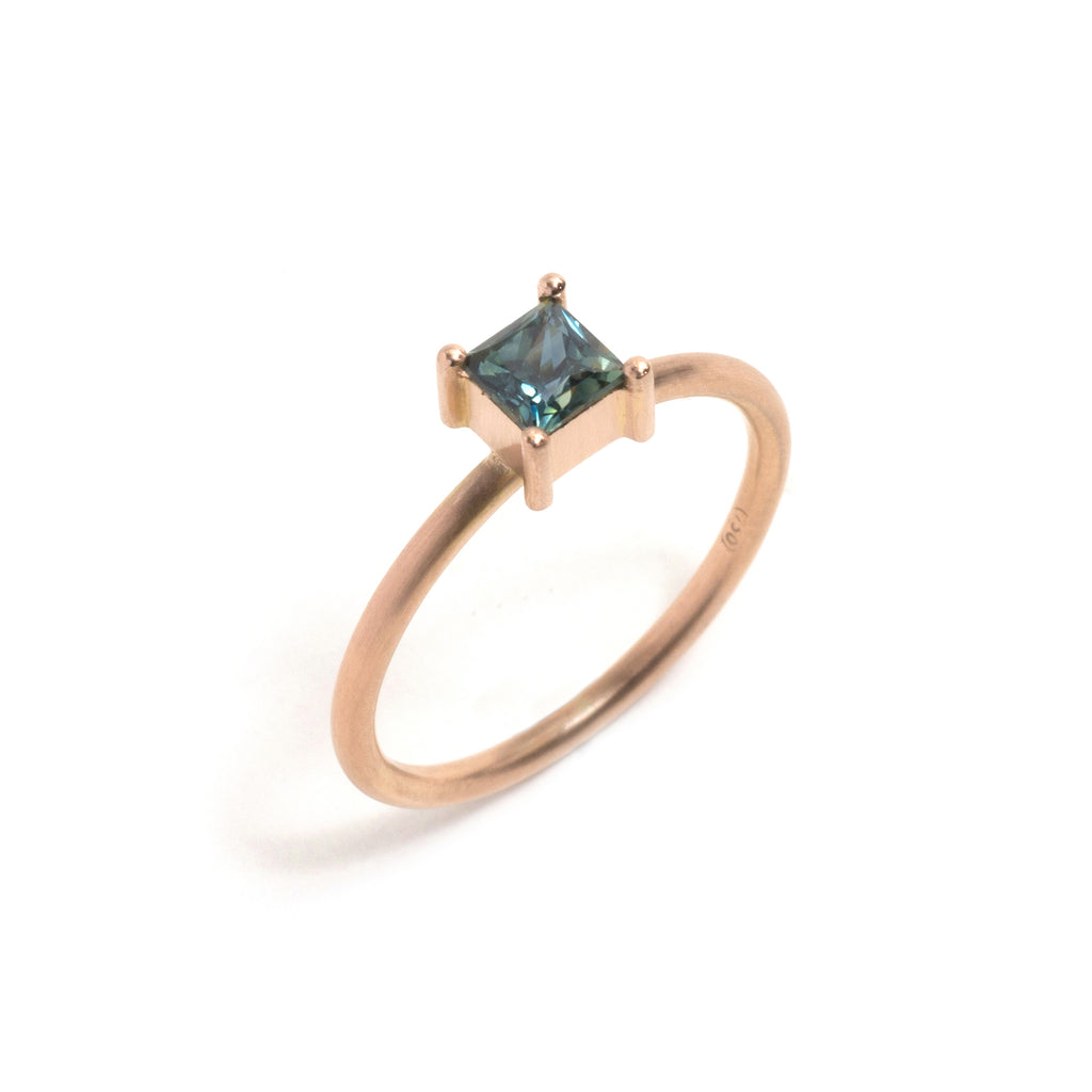 Rose Gold Parti Sapphire Element Large Princess Cut Stacking Ring