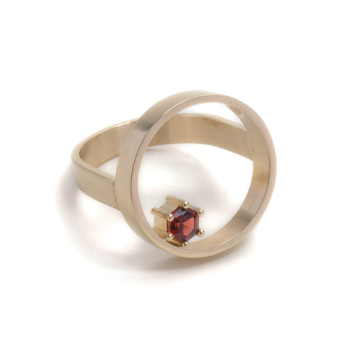 Hexagonal Step Cut Garnet Open Circle Ring