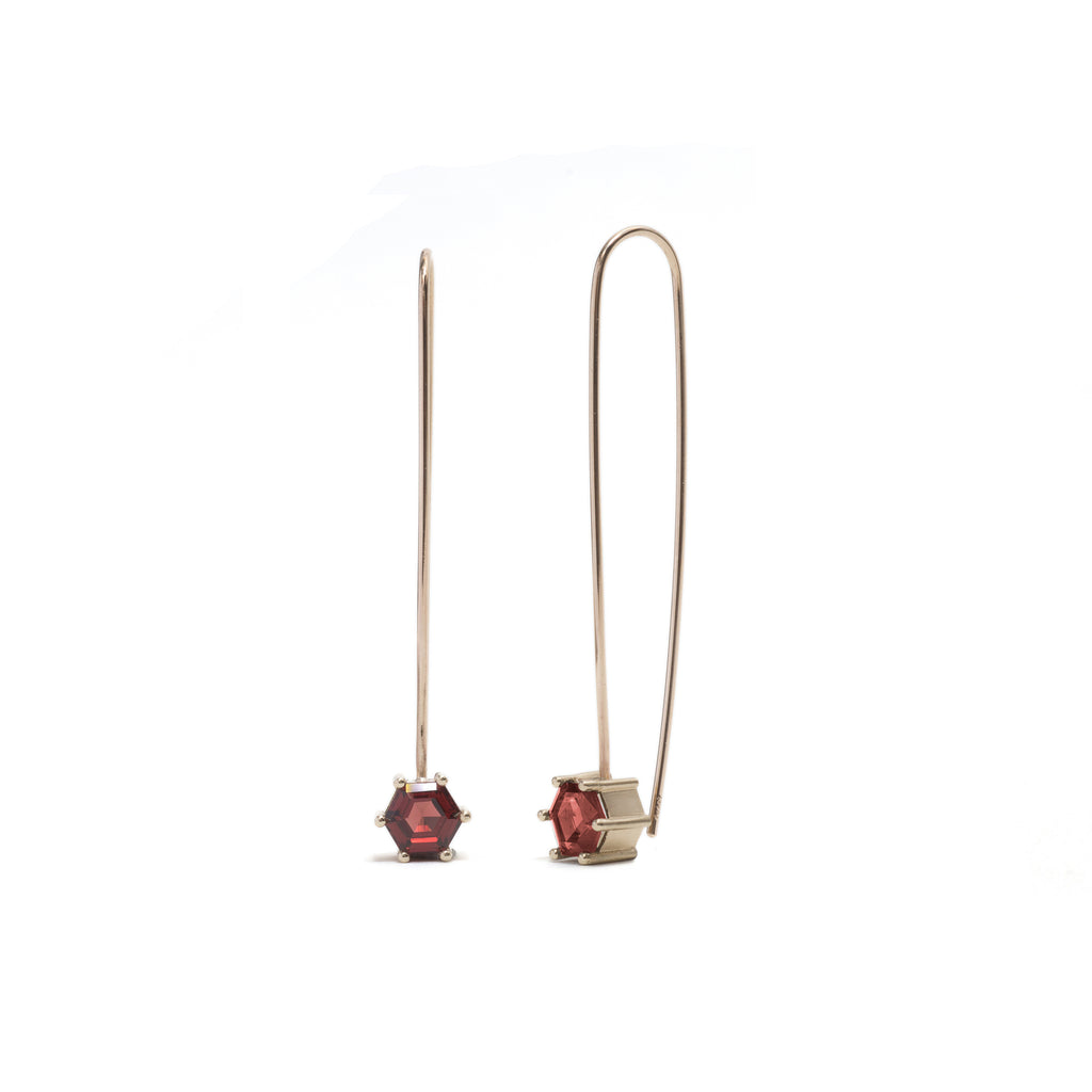 Hexagonal Step Cut Garnet Drop Earrings