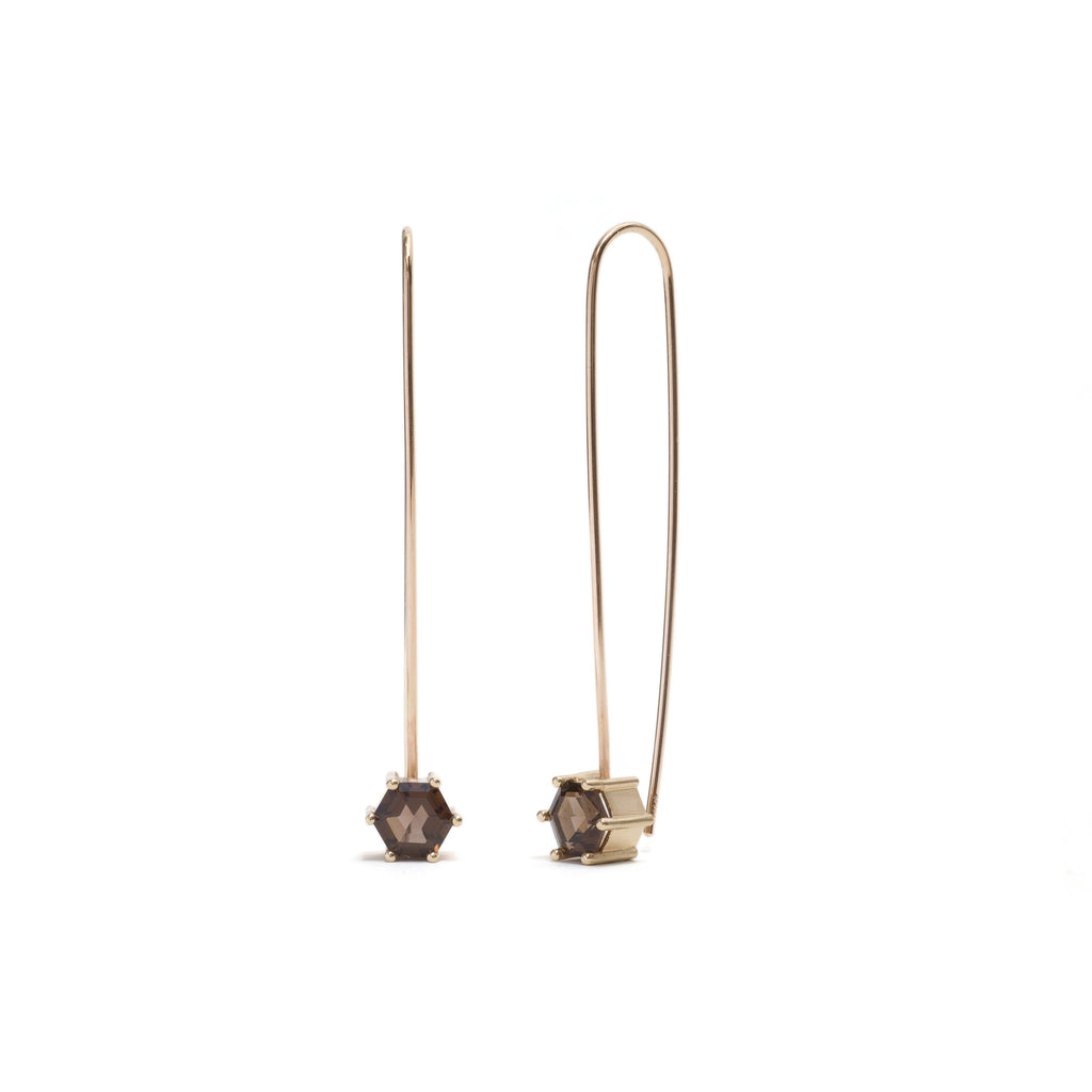 Hexagonal Step Cut Smokey Quartz Drop Earrings