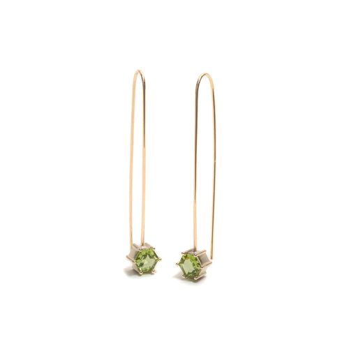 Hexagonal Step Cut Peridot Drop Earrings