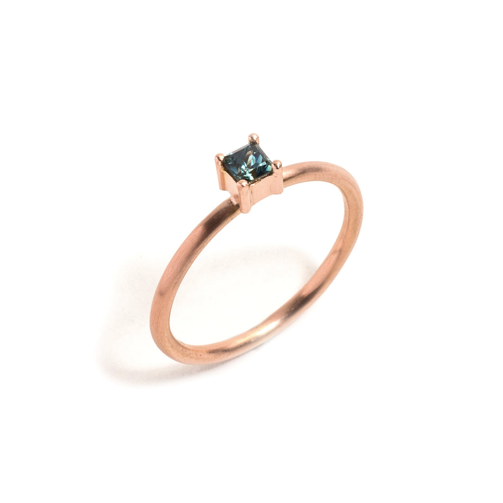 Rose Gold Parti Sapphire Element Small Princess Cut Stacking Ring