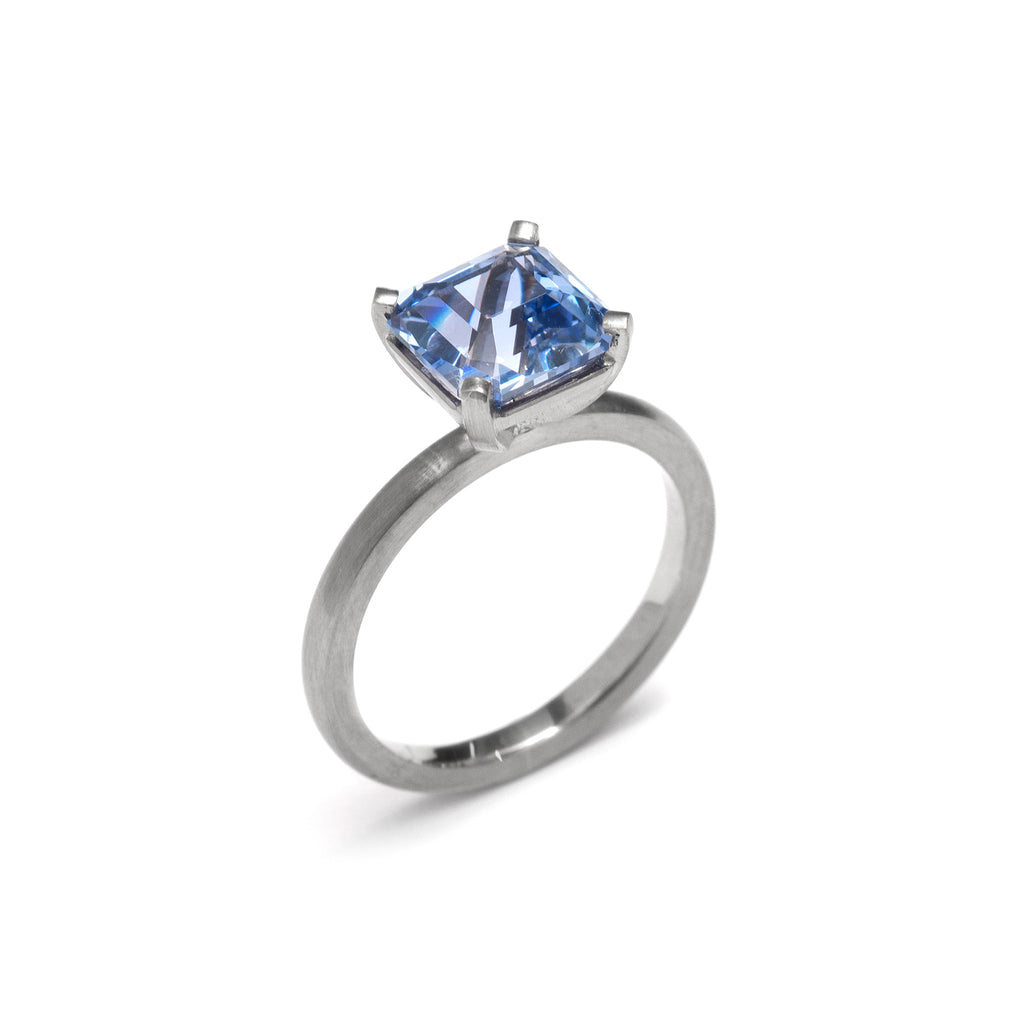 Four Claw Large Asscher Cut Ceylon Sapphire Ring