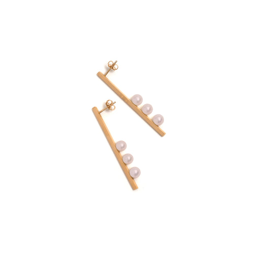 Golden Vertical Suspended Three Pink Pearl Earrings