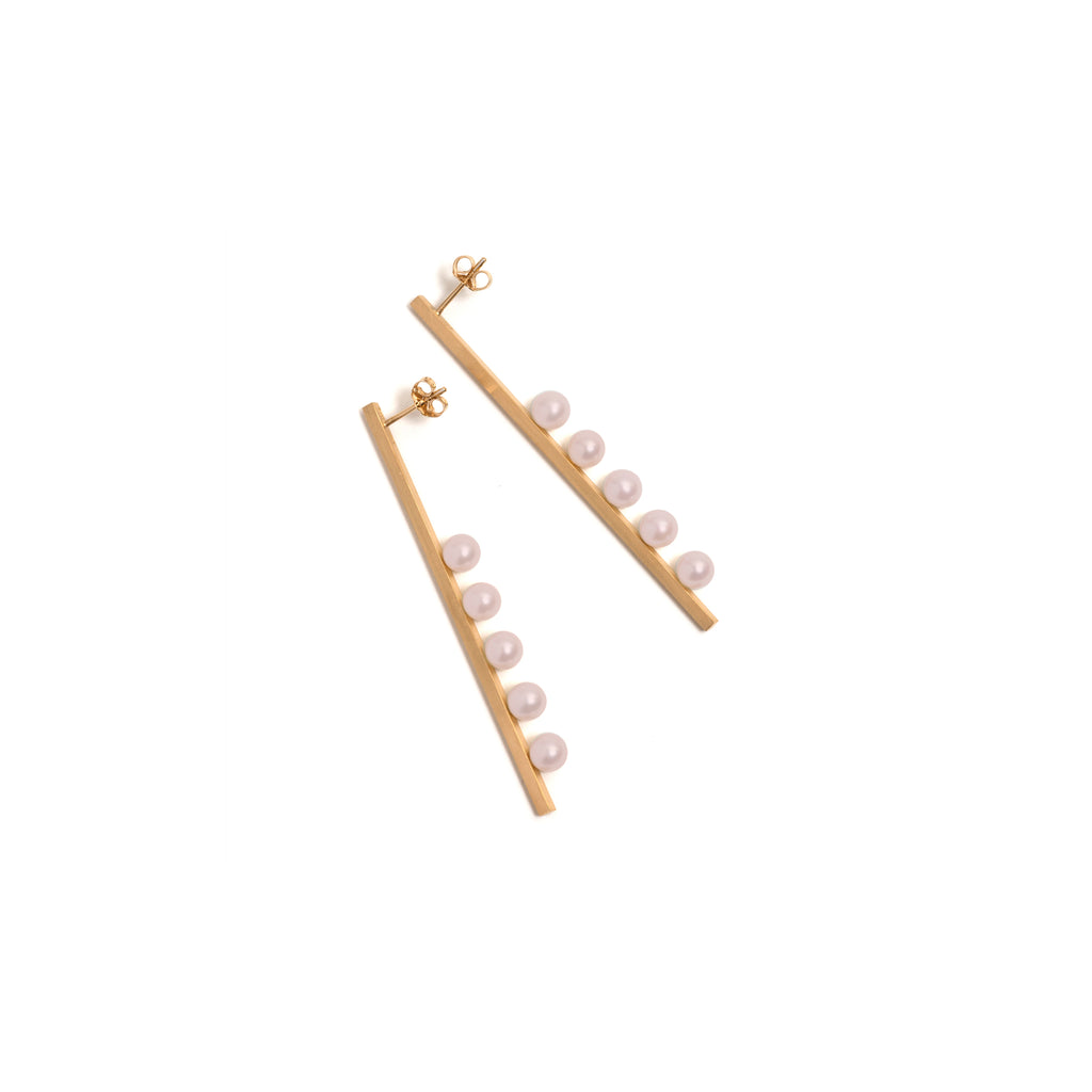 Golden Vertical Suspended Five Pink Pearl Earrings