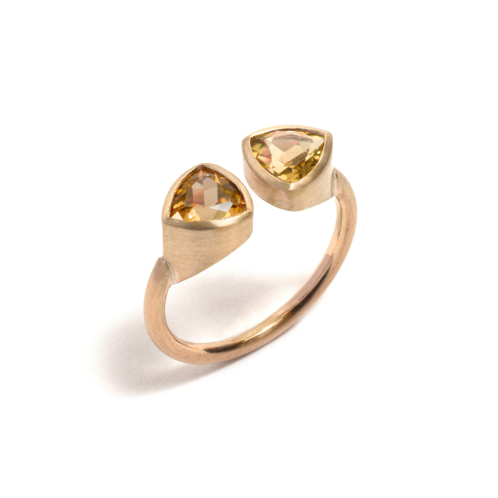 Citrine Double Trillion Ring