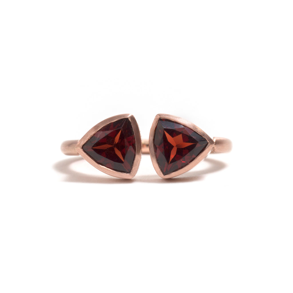Garnet Double Trillion Ring