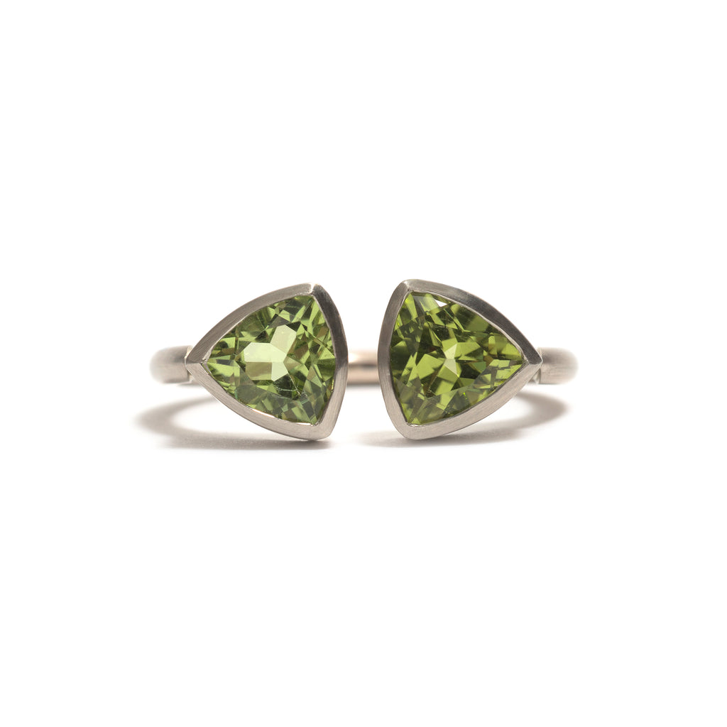 Peridot Double Trillion Ring