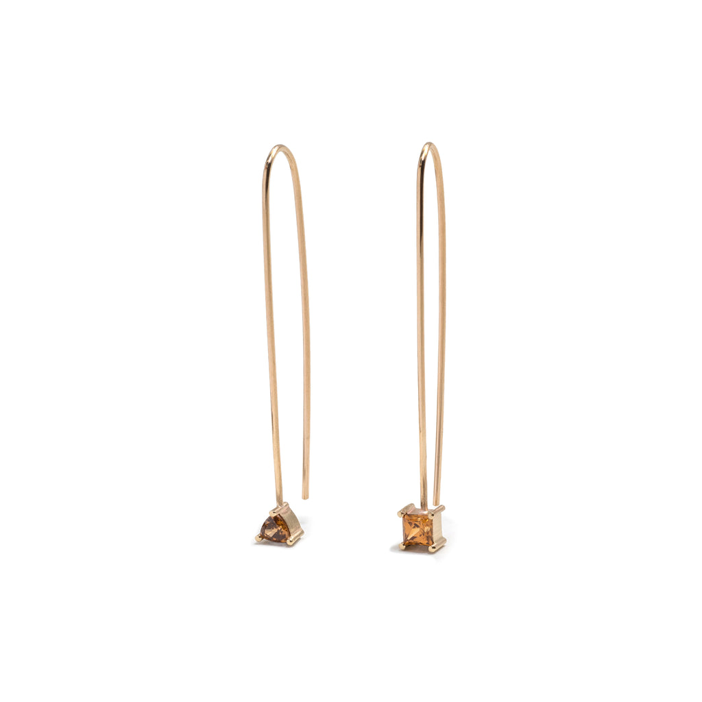 Yellow Gold Zircon Drop Earrings