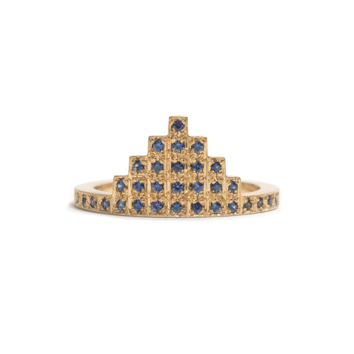 Yellow Gold and Sapphire Skyline Ring