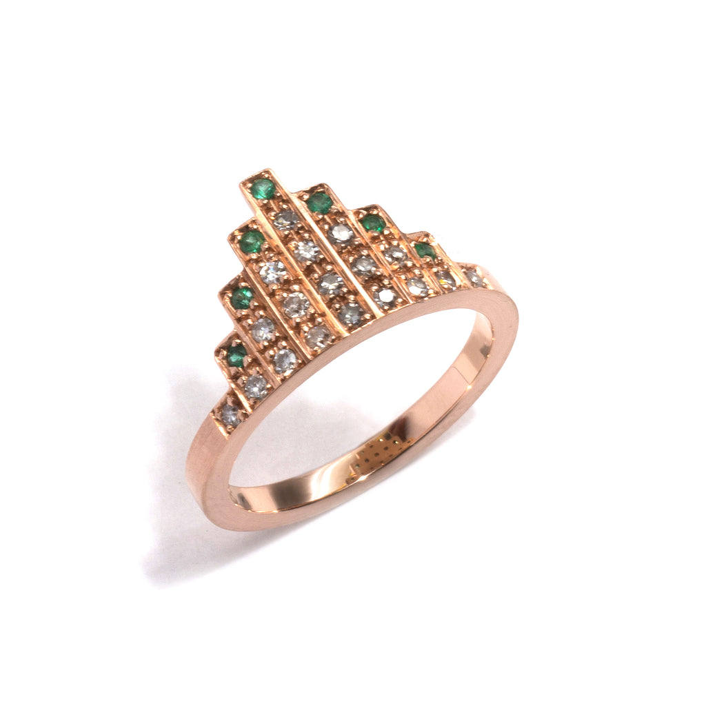Rose Gold, Emerald and Diamond Skyline Ring