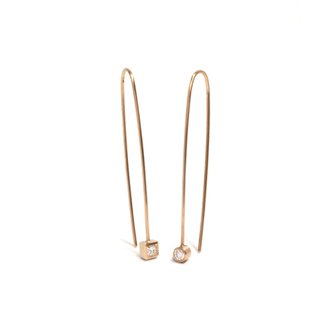 Asymmetrical Diamond Drop Earrings