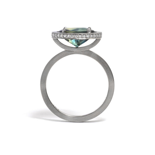White Gold Elevate Four Claw Parti Sapphire Ring