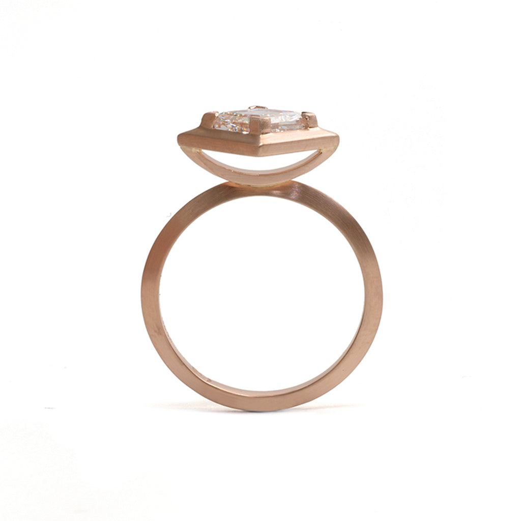 Rose Gold Rhombus Diamond Engagement Ring