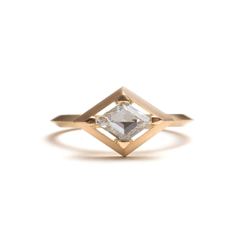Yellow Gold Rhombus Diamond Engagement Ring