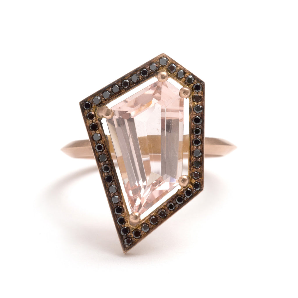 Black Diamond and Pink Morganite Five Claw Elevate Ring