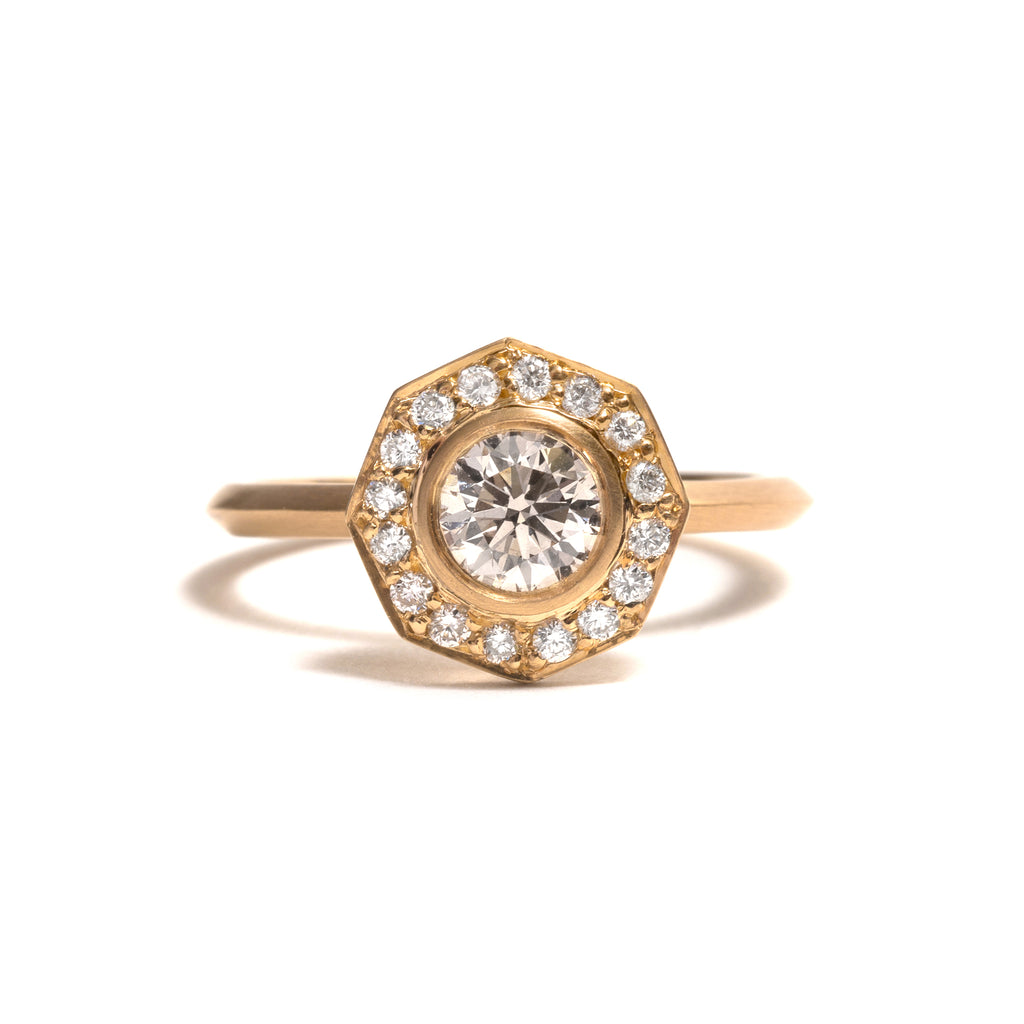 Diamond Octagon Halo Elevate Ring