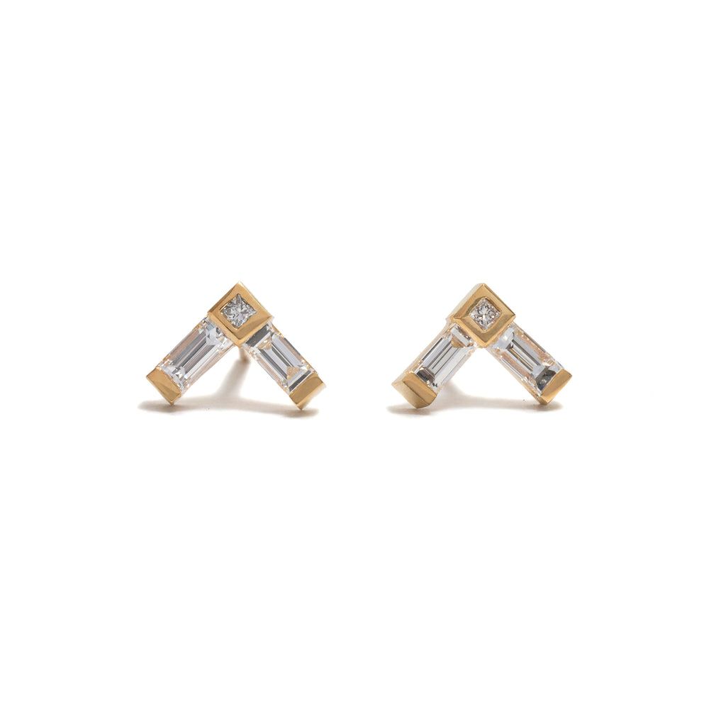 Right Angle Diamond Earrings