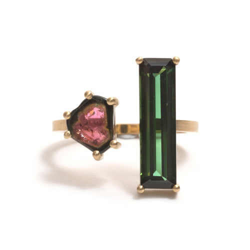 Double Watermelon Tourmaline Open Ring