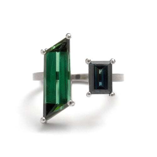 Double Tourmaline Rhombus and Parti Sapphire Ring