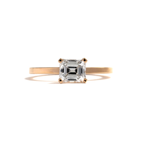 Four Claw Emerald Cut Diamond Ring