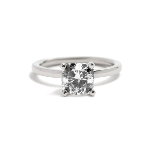 Four Claw Platinum Cushion Cut Diamond Ring