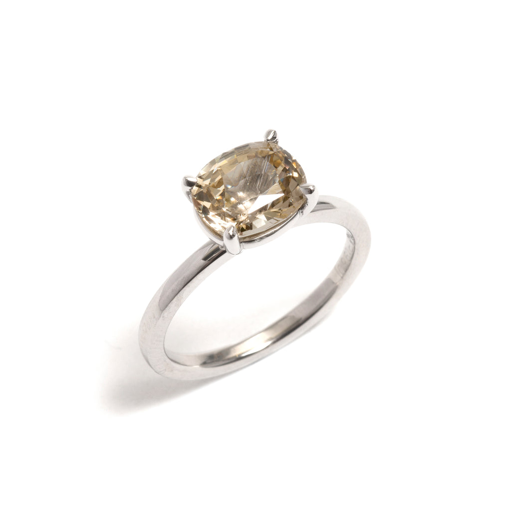 Four Claw Platinum Yellow Sapphire Engagement Ring