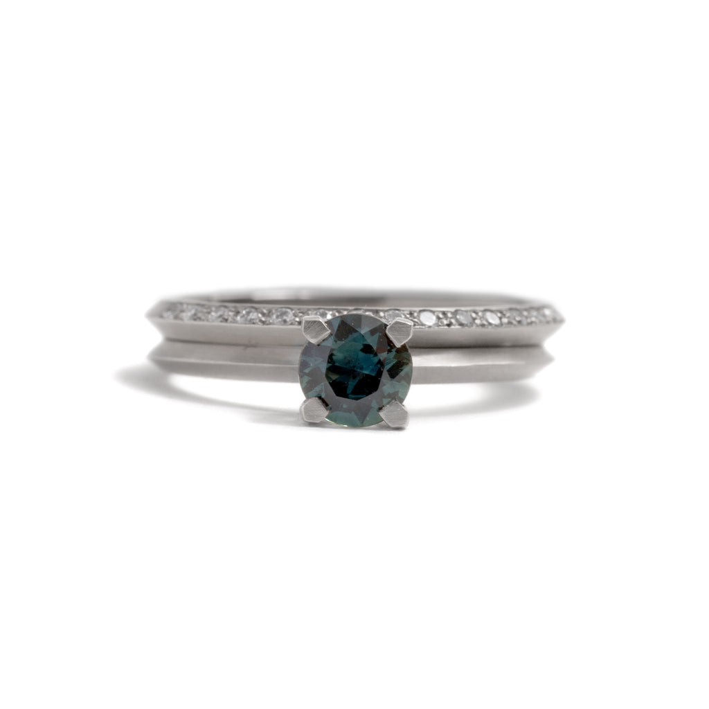 Four Claw Round Parti Sapphire Ring