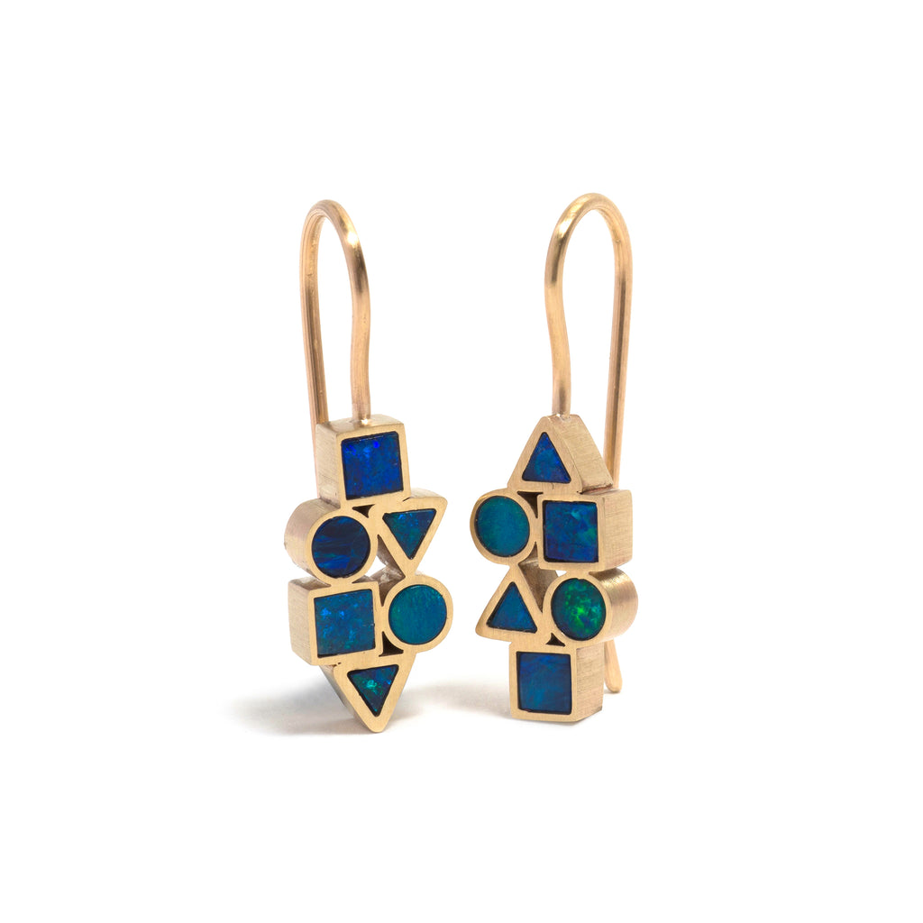 Golden Opal Element Drop Earrings - Short