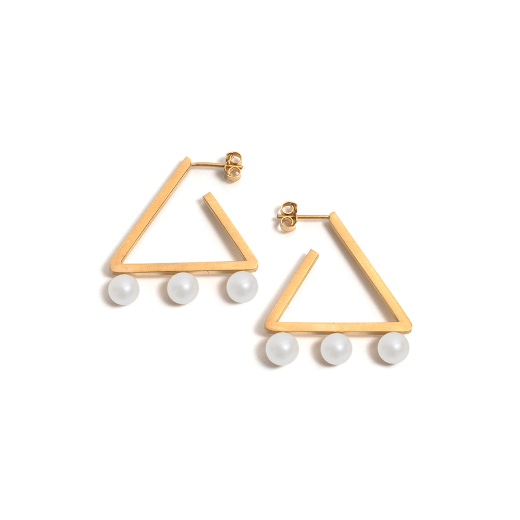 Golden Triangle Three White Pearl Earrings
