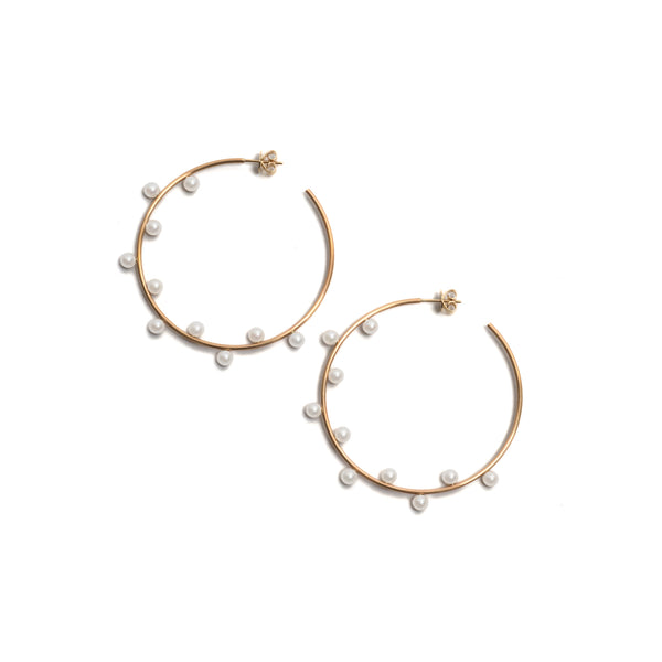 Dancing Pearl Hoop Earrings