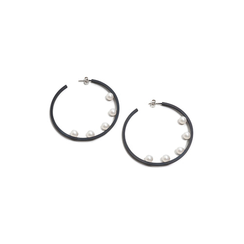 Large Five Pearl Hoop Earrings