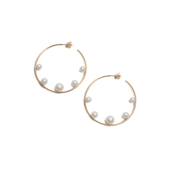 Pearl Introvert Hoop Earrings