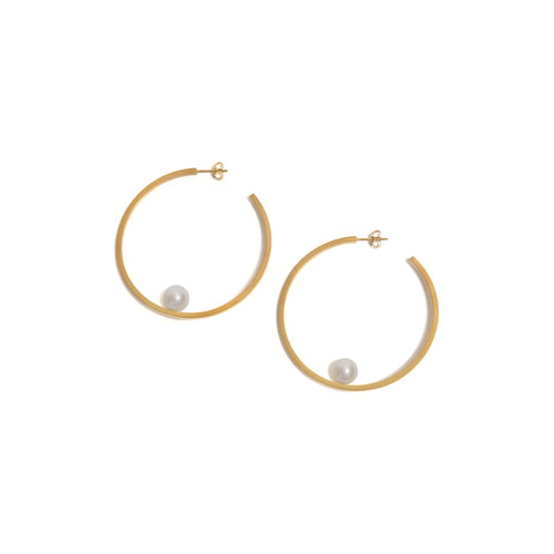 Large Golden Pearl Hoop Earrings