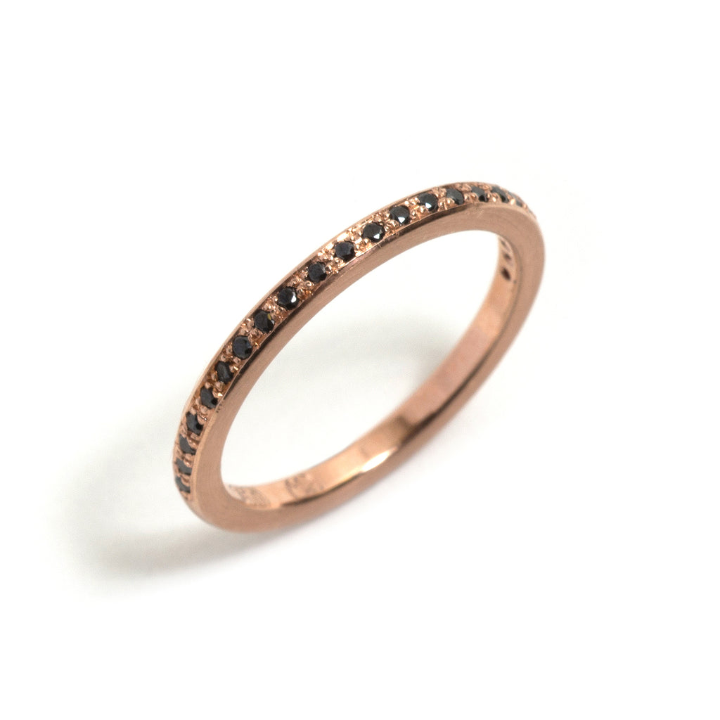 Rose Gold and Black Diamonds Little Steps Ring